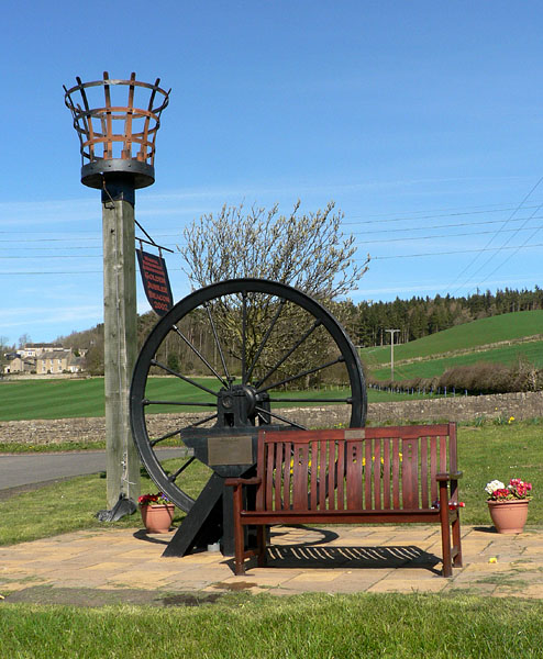 Golden Jubilee Beacon and Settlingstones mine head winding gear
