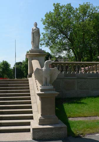 The steps leading to the terrace
