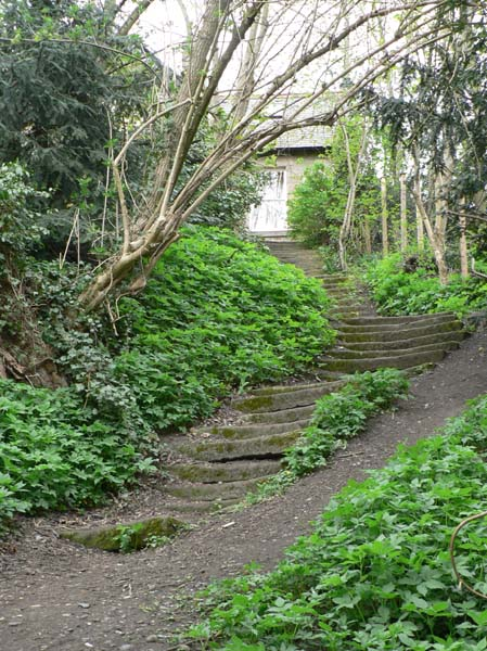 These well worn steps lead from the riverside up to the Village Green