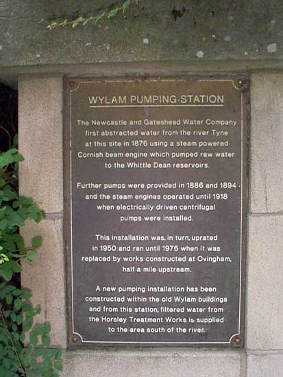 Plaque outside of Pumping Station